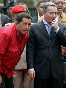 Chávez y Uribe. Foto archivo. AFP