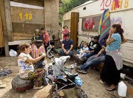 Campamento de rumanos en Francia