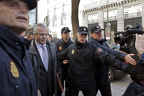 Garzón poco antes de declarar ante el Tribunal Supremo